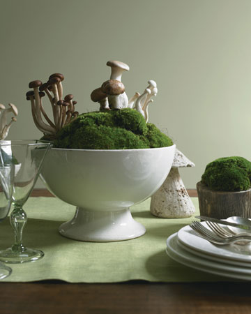 This mushroom hill centerpiece is bound to start some interesting conversation at the table