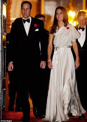 Kate Middleton's Satin Chiffon Silver Gown by Jenny Packham