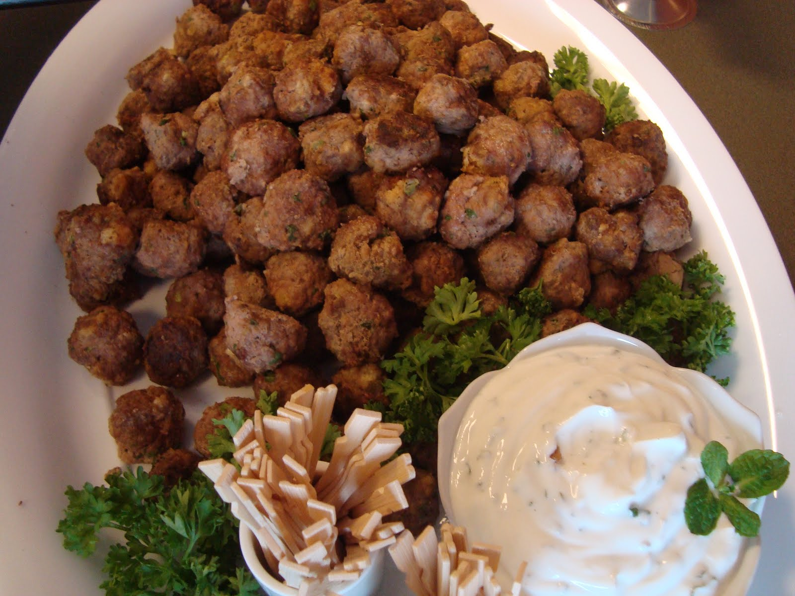 Cooking w Claudine: Lamb Meatballs with Yogurt Mint Dip