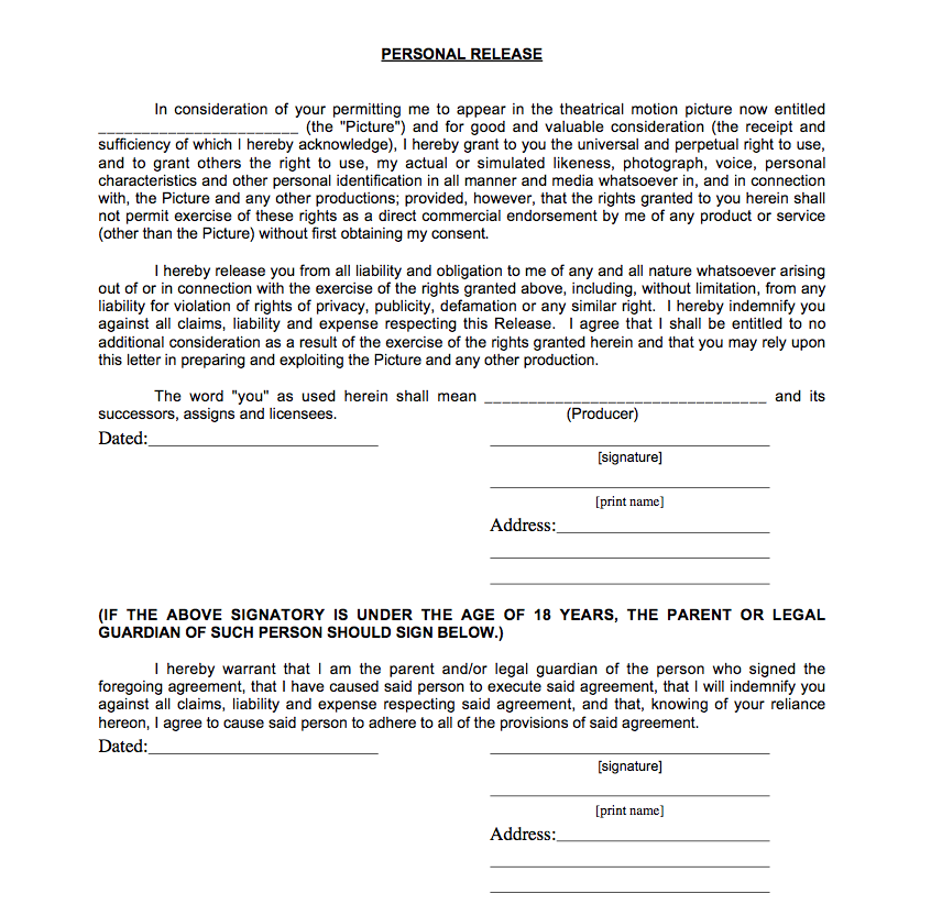 Lucy Norton A2 Media Coursework Personal release form – Film Release Form