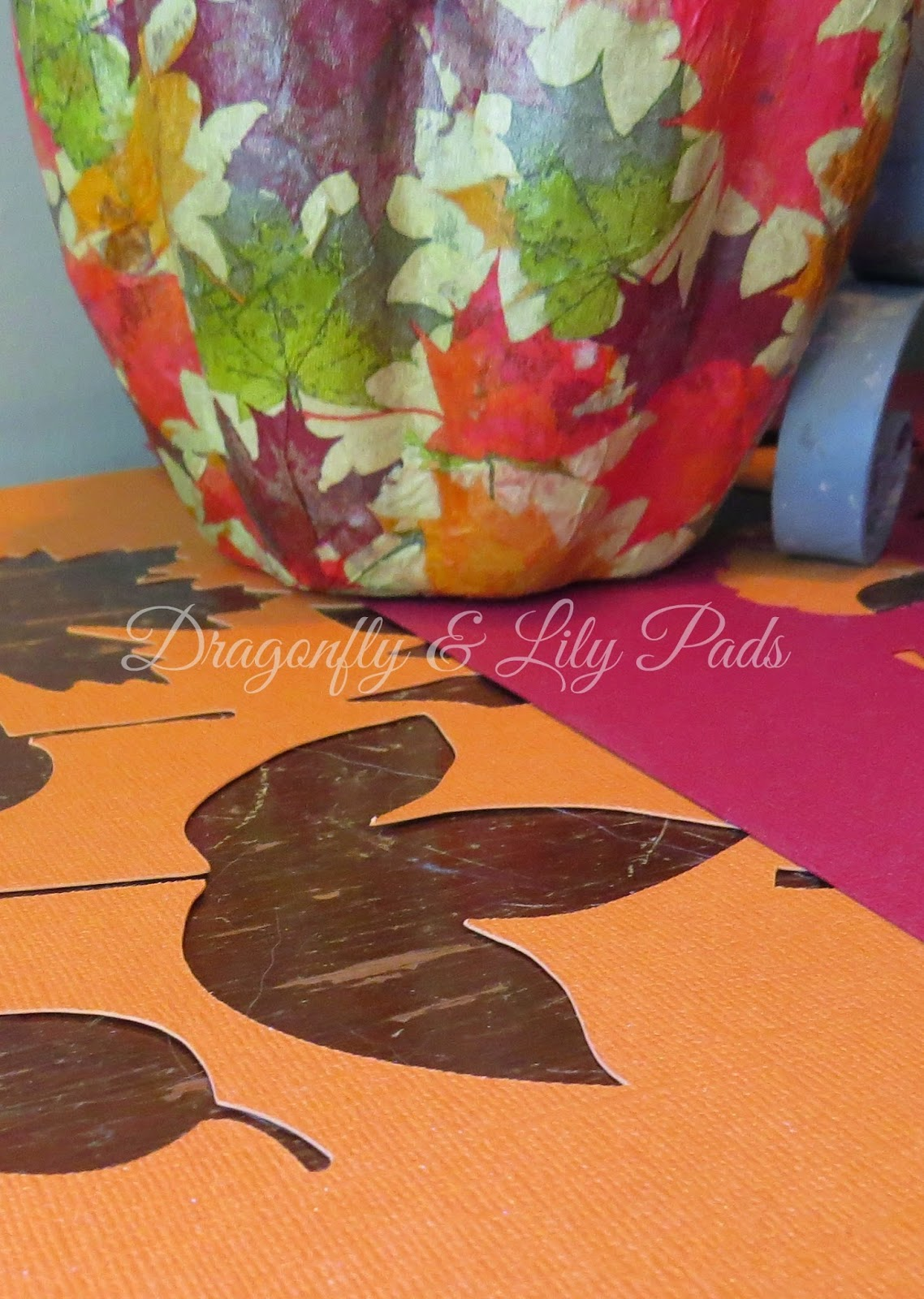 Fall Stencil of Silhouette Cuts, Orange, Leaves Modge Podge Pumpkin, Shabby brown table.