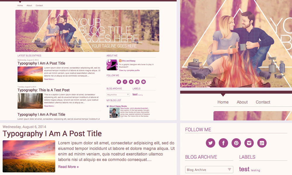 blog template design camping romance blogger