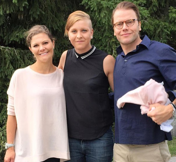 Pregnant Crown Princess Victoria of Sweden and her husband, Prince Daniel with their daughter, Princess Estelle