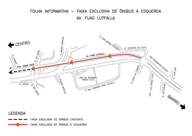 Faixa exclusiva implantada na Avenida Fuad Lutfalla em 18/01