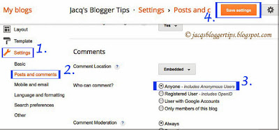 Screenshot showing how to configure your blog's setting for comments