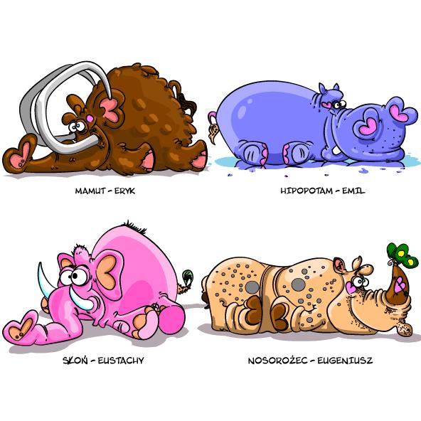 Animales cartoon descansando