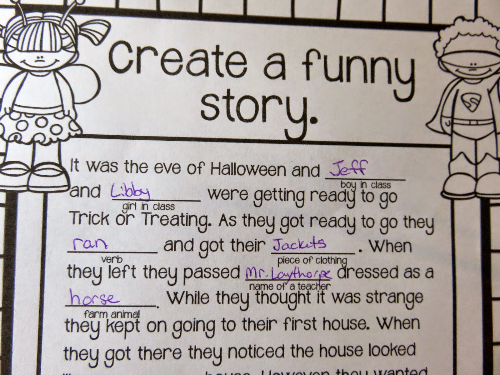 rclassroomsrus  get your reluctant writers off to a great start by creating a fun story about halloween while also incorporating you and some of their classmates as a
