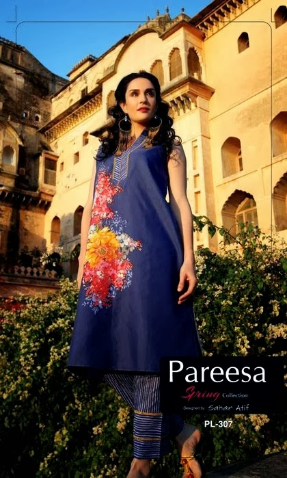 Embroidered Printed Spring collection by Pareesa
