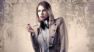 Cigarette Red Lips Headphone Awesome Girl HD Wallpaper