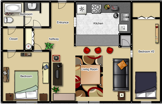 Foundation dezin decor studio apt 1bkh layout 39 s for Two bedroom flat plan