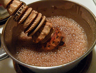 Pan of Cocoa Being Whipped up into foam