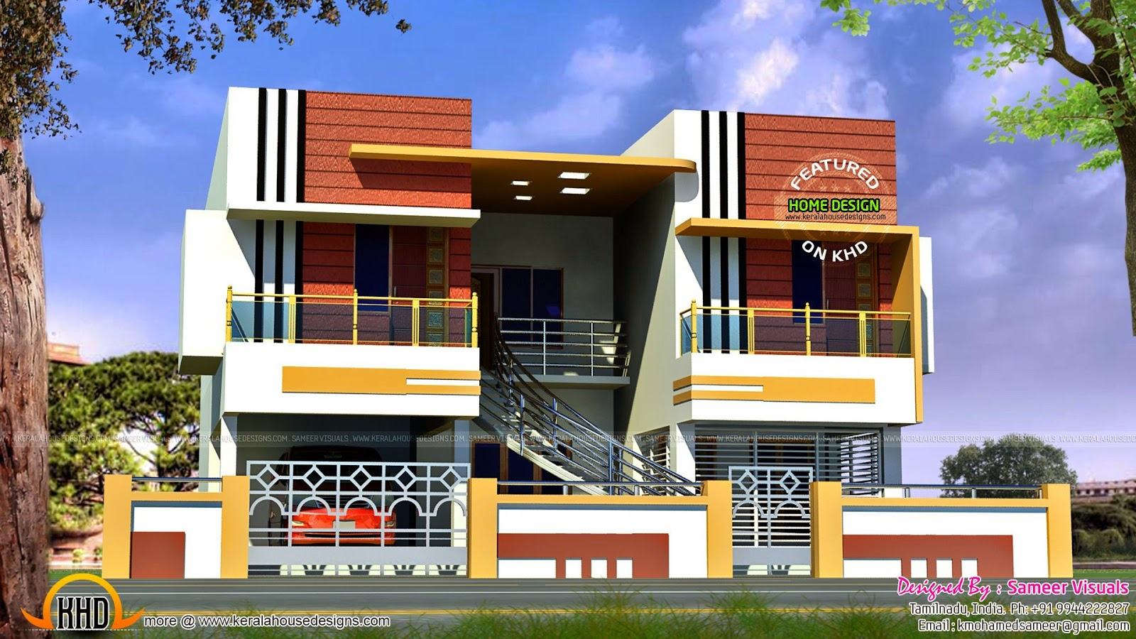 January 2015 kerala home design and floor plans for Front view of duplex house in india