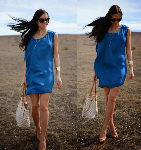 Outfit Blue Summer Dress Louis Vuitton Neverfull Damier Azur