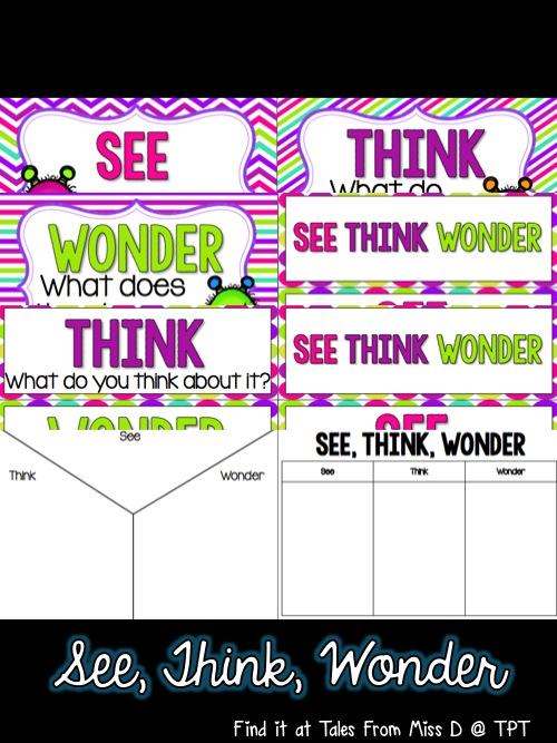http://www.teacherspayteachers.com/Product/See-Think-Wonder-1451939