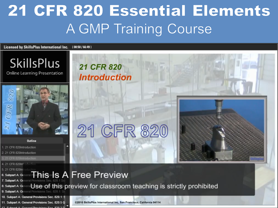 21 CFR 820 Training - Free Preview