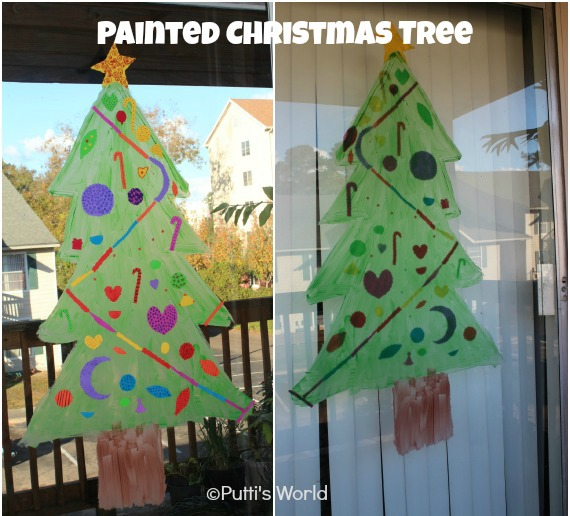 Painted Christmas Tree Window Kids Craft
