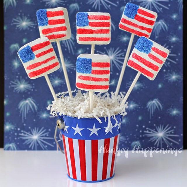 Sugar Coated Marshmallow Flags | HungryHappenings.com
