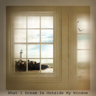 Blended photo of window and view of lighthouse and beach