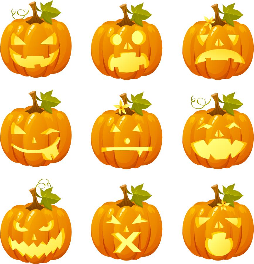 表情豊かなハロウィン ランタン halloween pumpkin head vector emoticons イラスト素材