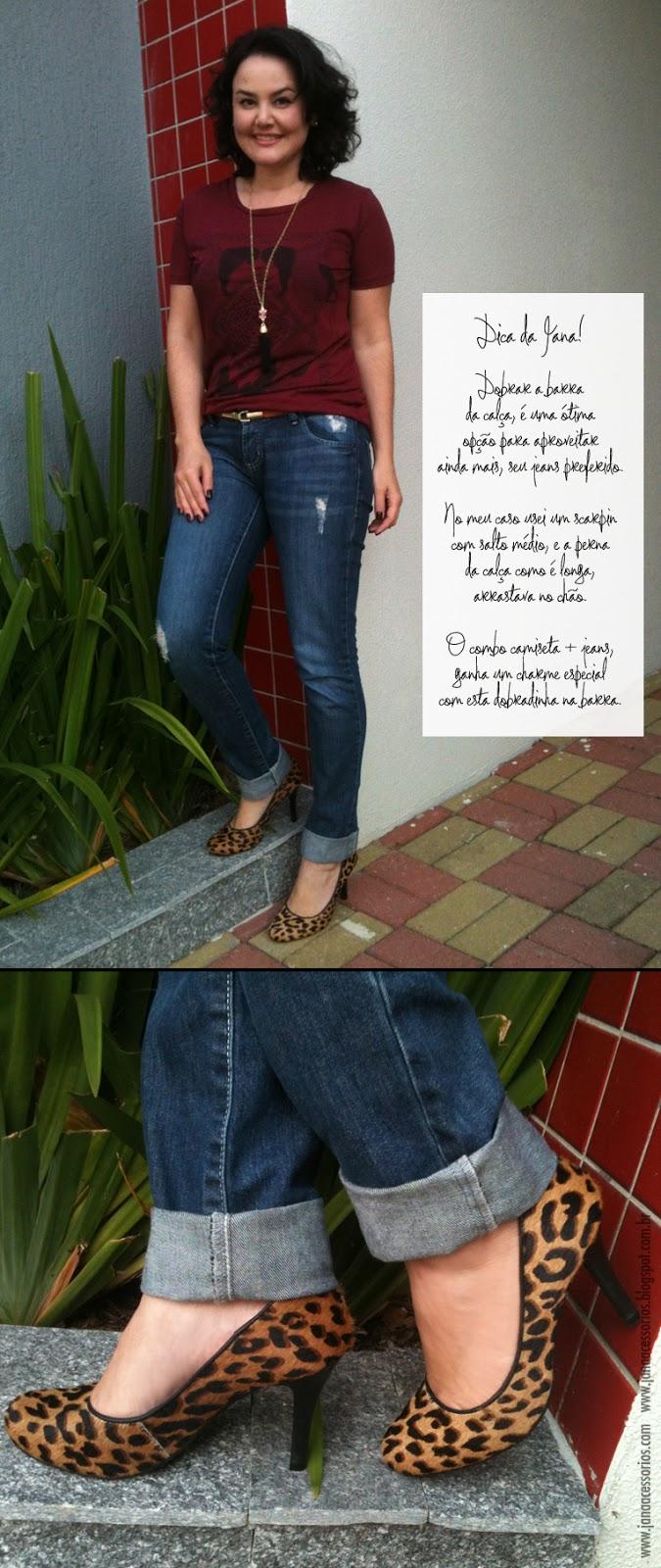 Look, dica, dicadajana, jeans, camiseta, acessórios, janaacessorios, scarpin, onça