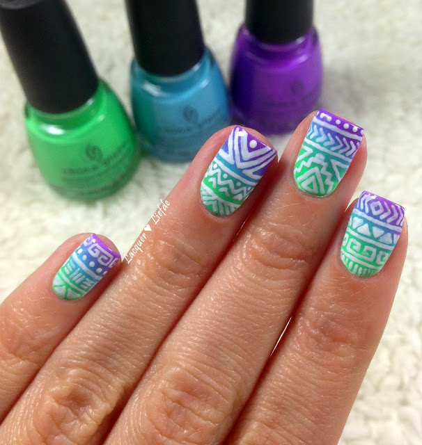 China Glaze Electric Nights Tribal Nail Design