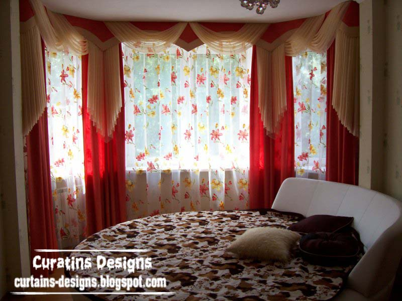 Contemporary Red Drapes Curtain Design For Bedroom