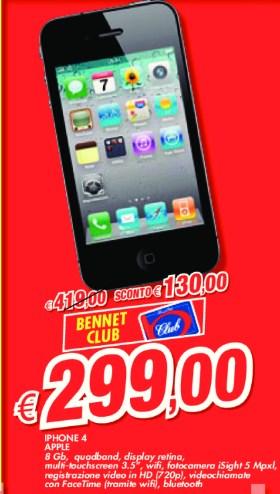Sconto interessante vicino al sottocosto per l'iPhone 4S venduto da Bennet per quasi tutto Maggio
