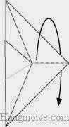 Bước 6: Gấp tờ giấy về phía mặt đằng sau, vị trí gấp là đường đứt đoạn