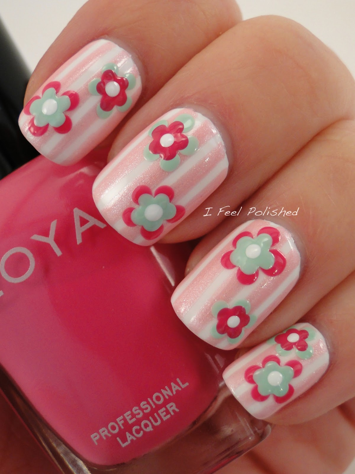 I feel polished february challenge flowers modern flower nails prinsesfo Images