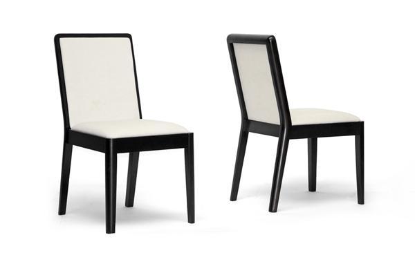 Baxton Studio Maeve Dark Brown And Cream Modern Dining Chair