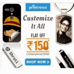 Printvenue :Printvenue Rs.100 off no minimum purchase require + 2% off with Recommendations