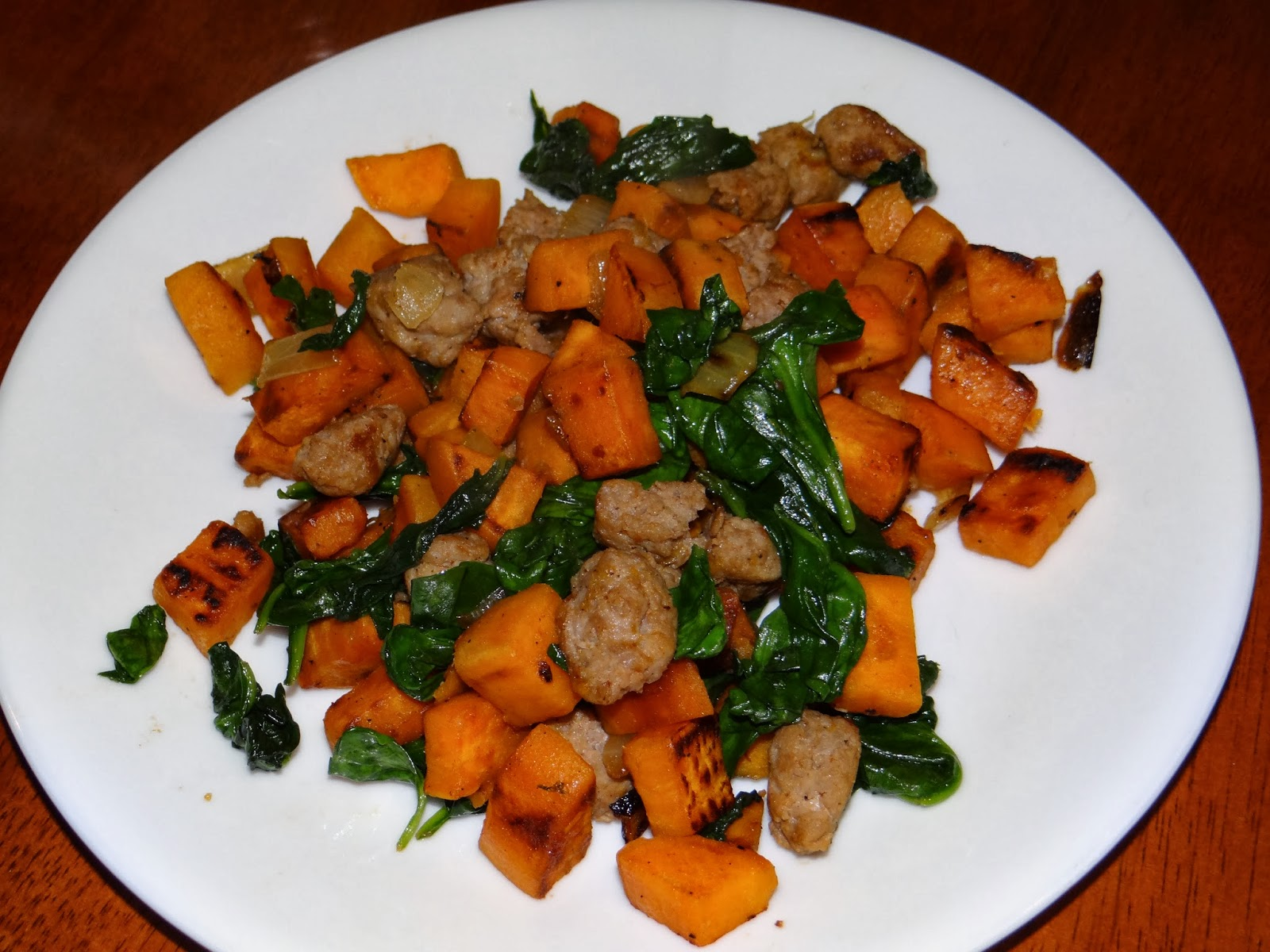 emjay's course: Sweet Potato, Spinach, and Turkey Sausage Hash
