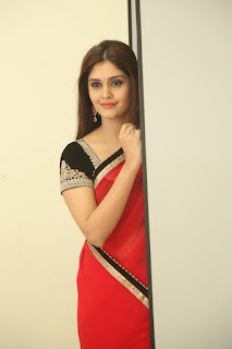 Surabhi in lovely Red Saree Gorgeous Pics lovely beauty with straight hairs