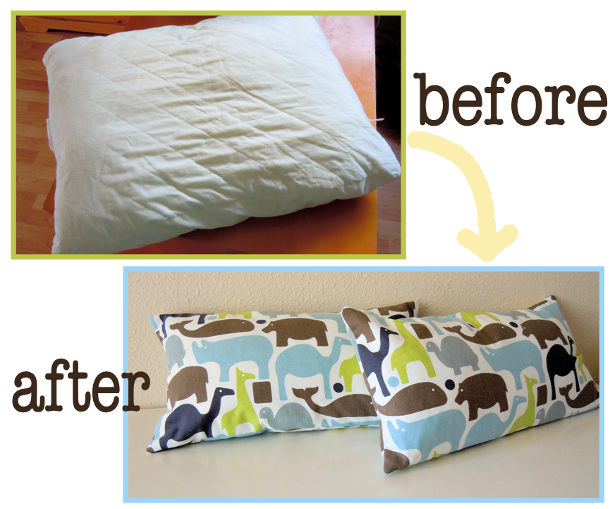Naturally Creative Mama: Tutorial: How to Make Throw Pillows from a Bed Pillow
