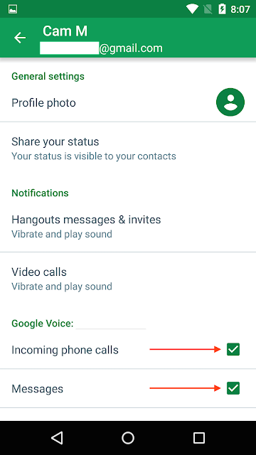 Hangouts incoming calls and messages