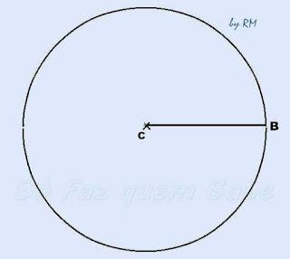 Traçando um raio da circunferência para construir um heptágono regular.