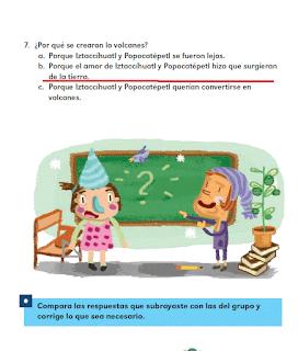 Respuestas Apoyo Primaria Español 2do grado Bloque 2 lección 5 La leyenda de los volcanes