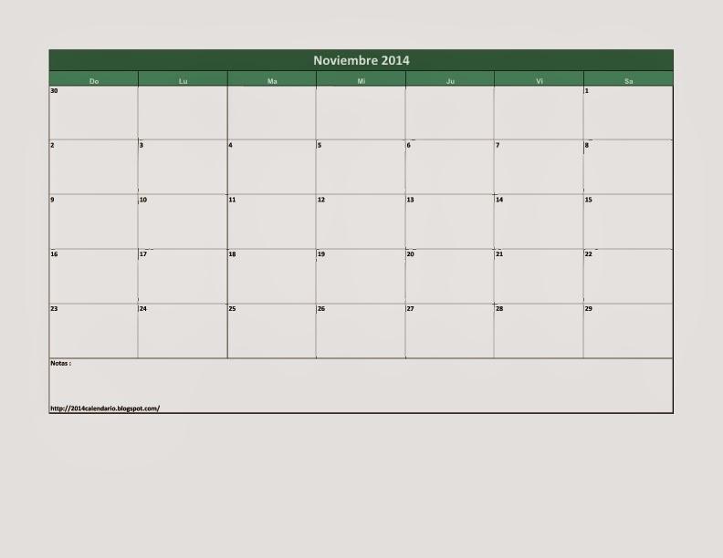 Calendario Noviembre 2014 en Excel, Calendario 2014 para imprimir ...