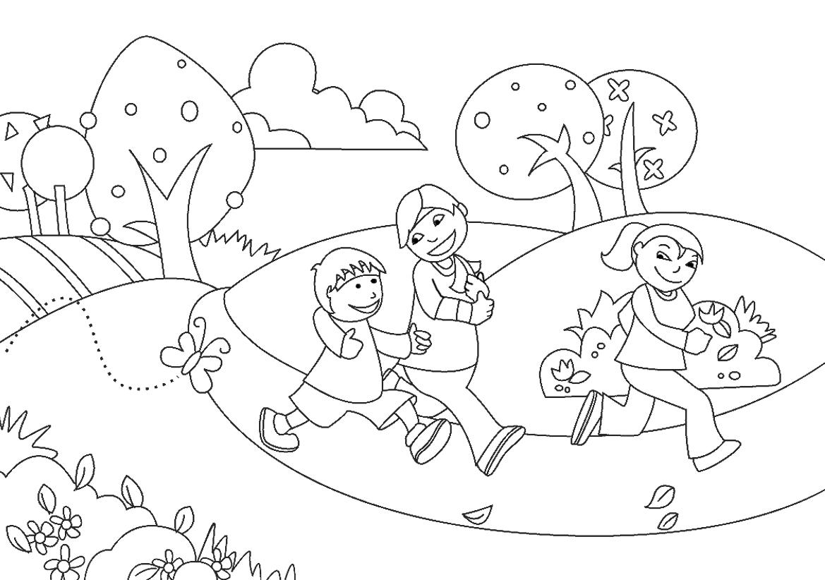 Gambar Mewarna Jogging Di Taman