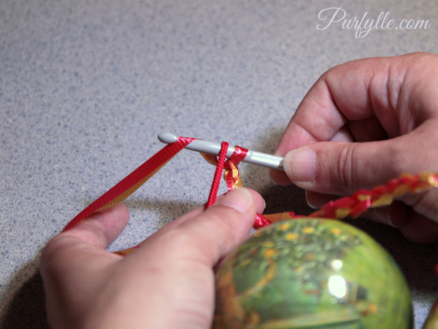Add a bauble to your crochet hook.
