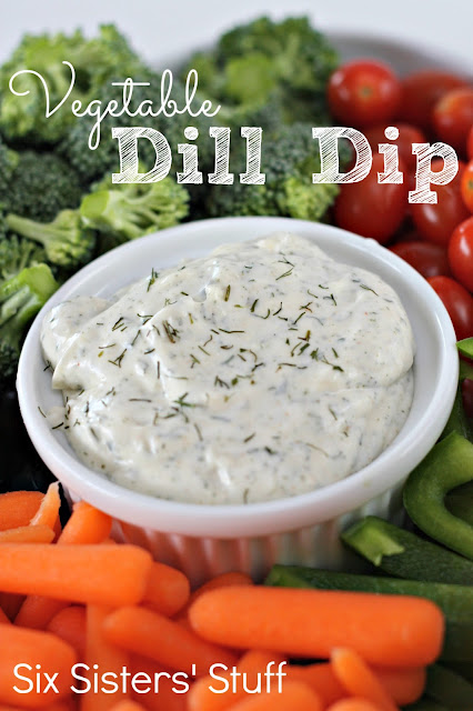 vegetable dill dip, broccoli, tomatoes, peppers, carrots