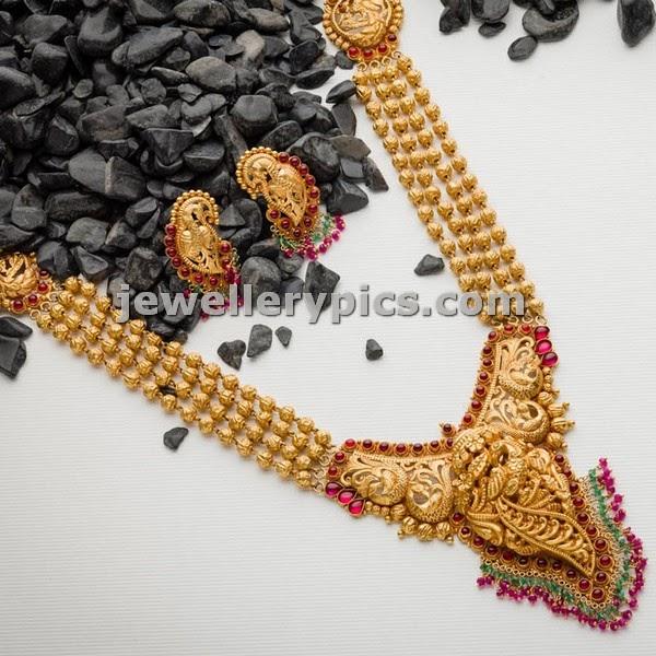 four line gold gundu haram by avr swarnamahal