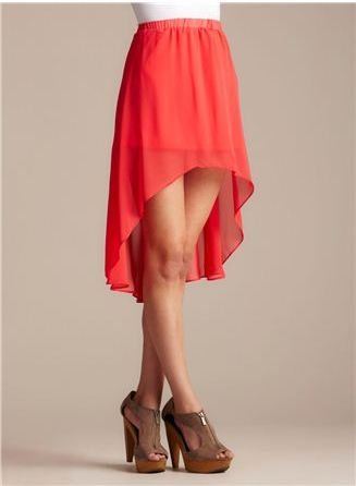 coral chiffon high-low skirt