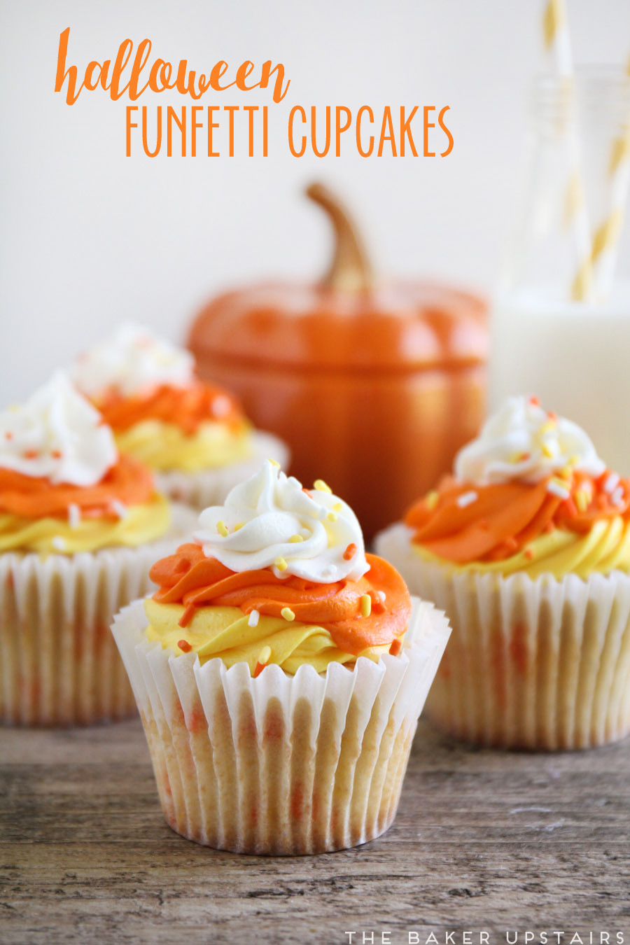 the baker upstairs: halloween funfetti cupcakes