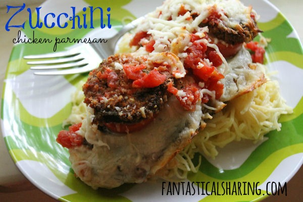 Zucchini Chicken Parmesan | Add a little squash to your boring ole Chicken Parm. | www.fantasticalsharing.com