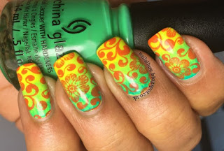 Bright floral stamping on gradient nails
