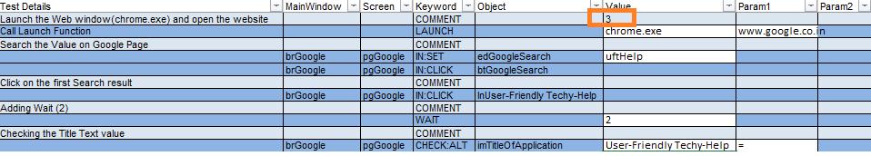 Keyword sheet in Hybrid Framework