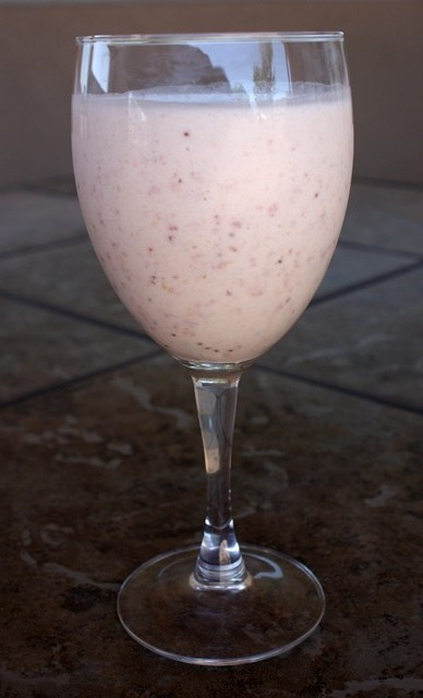 Frothy Banana Smoothie with Dehydrated Strawberries recipe by Barefeet In The Kitchen