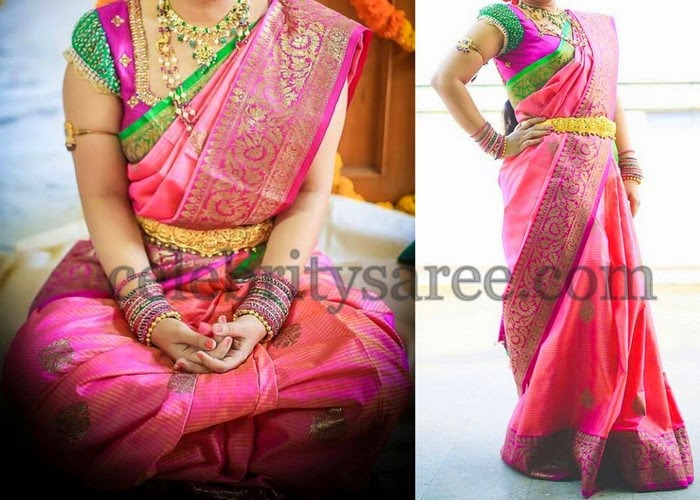 Bride in Raw Silk Floral Saree