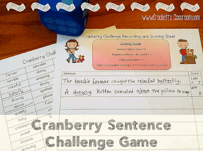 Cranberry Sentence Challenge Game. fun activity for the winter holidays!